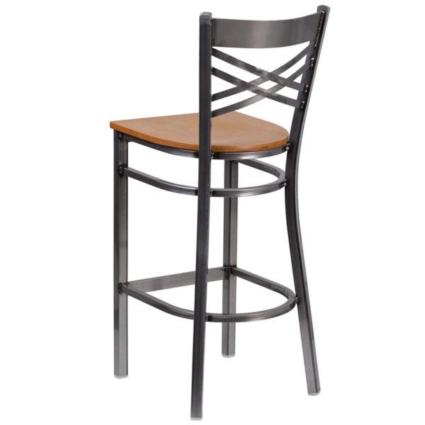 Metal Dining Bar Stool Clear X Stool-Nat Seat