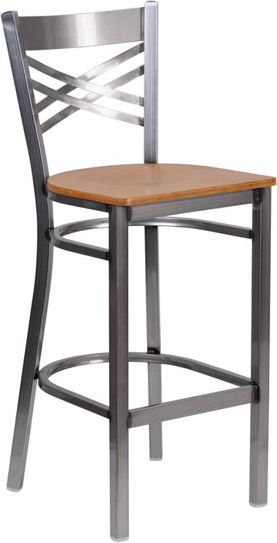 Wholesale HERCULES Series Clear Coated ''X'' Back Metal Restaurant Barstool - Natural Wood Seat