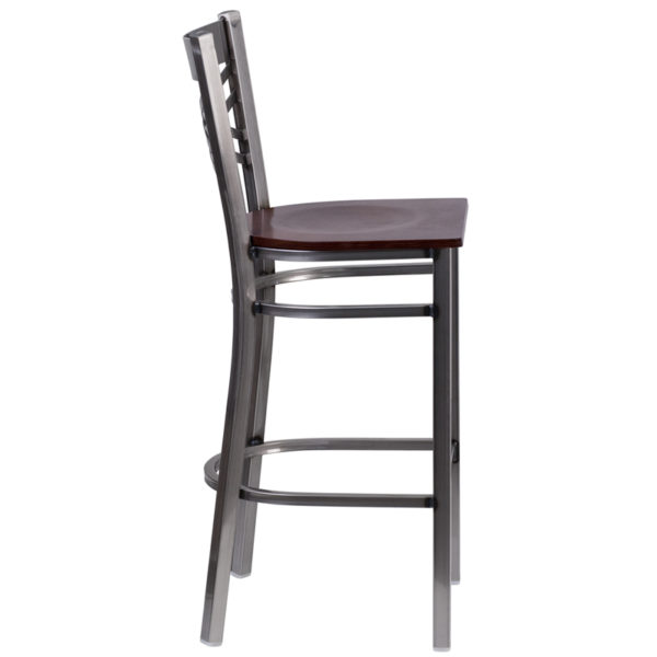 Lowest Price HERCULES Series Clear Coated ''X'' Back Metal Restaurant Barstool - Walnut Wood Seat