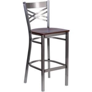Wholesale HERCULES Series Clear Coated ''X'' Back Metal Restaurant Barstool - Walnut Wood Seat