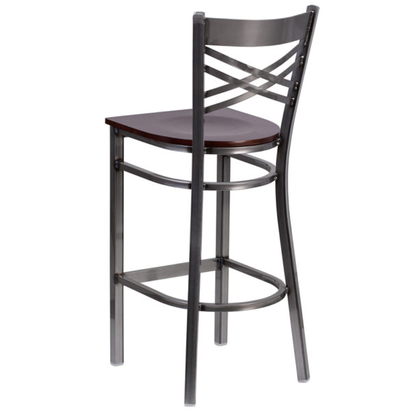 Metal Dining Bar Stool Clear X Stool-Wal Seat