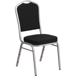 Wholesale HERCULES Series Crown Back Stacking Banquet Chair in Black Fabric - Silver Frame