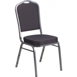 Wholesale HERCULES Series Crown Back Stacking Banquet Chair in Black Patterned Fabric - Silver Vein Frame