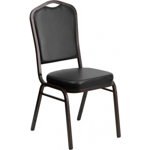 Wholesale HERCULES Series Crown Back Stacking Banquet Chair in Black Vinyl - Gold Vein Frame