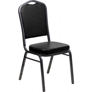 Wholesale HERCULES Series Crown Back Stacking Banquet Chair in Black Vinyl - Silver Vein Frame