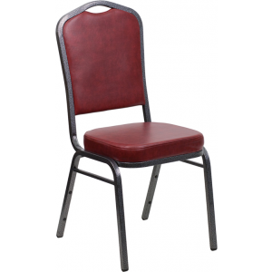 Wholesale HERCULES Series Crown Back Stacking Banquet Chair in Burgundy Vinyl - Silver Vein Frame