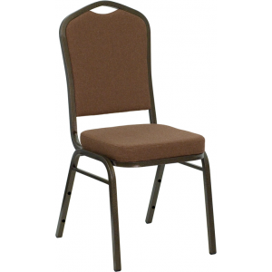 Wholesale HERCULES Series Crown Back Stacking Banquet Chair in Coffee Fabric - Gold Vein Frame