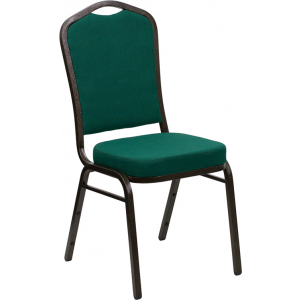 Wholesale HERCULES Series Crown Back Stacking Banquet Chair in Green Fabric - Gold Vein Frame