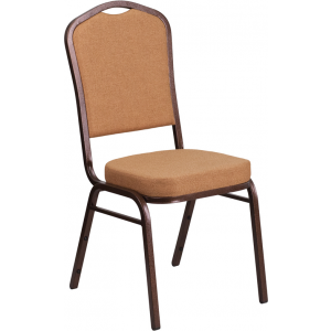 Wholesale HERCULES Series Crown Back Stacking Banquet Chair in Light Brown Fabric - Copper Vein Frame