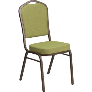 Wholesale HERCULES Series Crown Back Stacking Banquet Chair in Moss Fabric - Gold Vein Frame