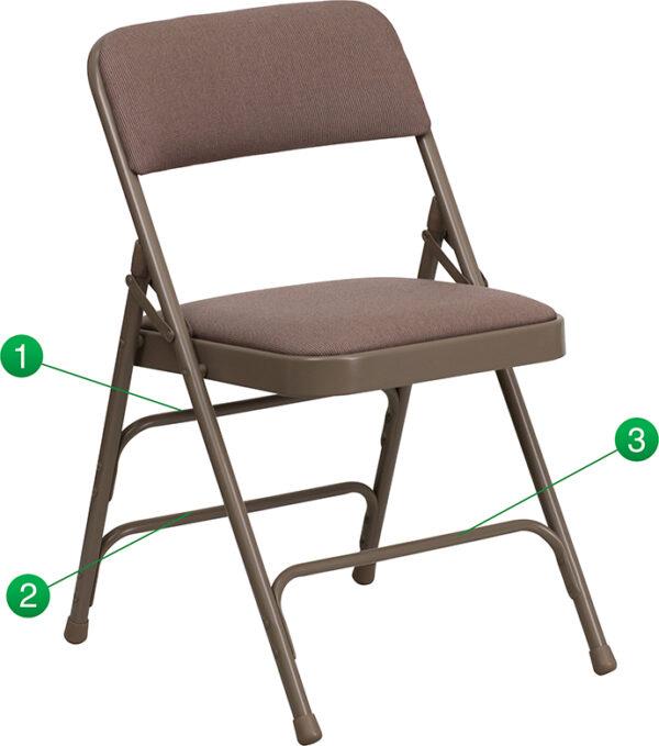 Wholesale HERCULES Series Curved Triple Braced & Double Hinged Beige Fabric Metal Folding Chair