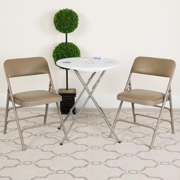 Lowest Price HERCULES Series Curved Triple Braced & Double Hinged Beige Vinyl Metal Folding Chair