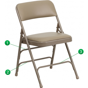 Wholesale HERCULES Series Curved Triple Braced & Double Hinged Beige Vinyl Metal Folding Chair