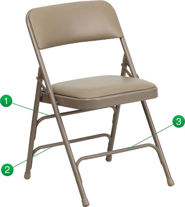 Wholesale HERCULES Series Curved Triple Braced & Double Hinged Beige Vinyl Metal Folding Chair