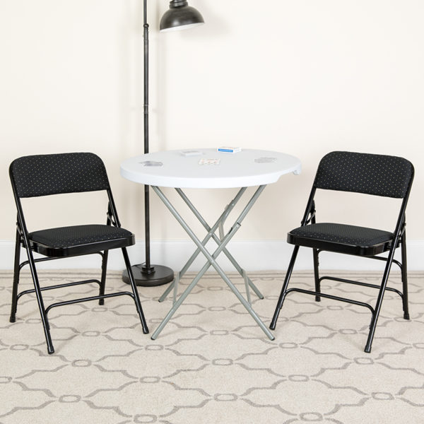 Lowest Price HERCULES Series Curved Triple Braced & Double Hinged Black Patterned Fabric Metal Folding Chair