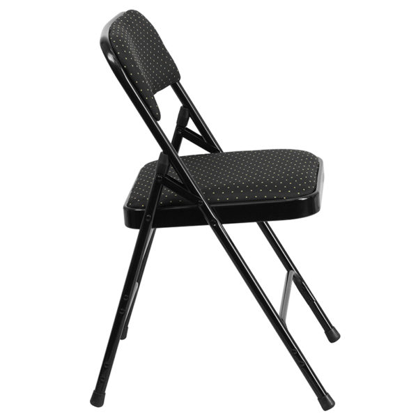 Padded Metal Folding Chair Black Fabric Metal Chair