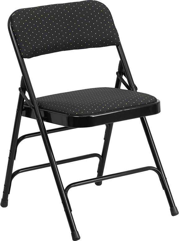 Wholesale HERCULES Series Curved Triple Braced & Double Hinged Black Patterned Fabric Metal Folding Chair