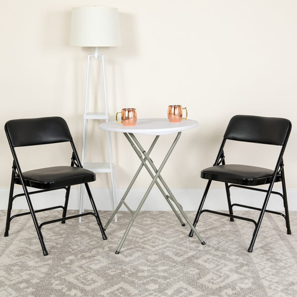 Lowest Price HERCULES Series Curved Triple Braced & Double Hinged Black Vinyl Metal Folding Chair