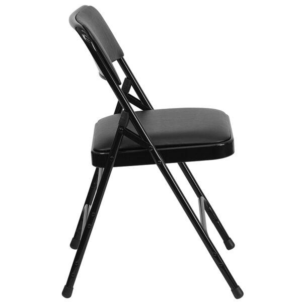 Padded Metal Folding Chair Black Vinyl Folding Chair