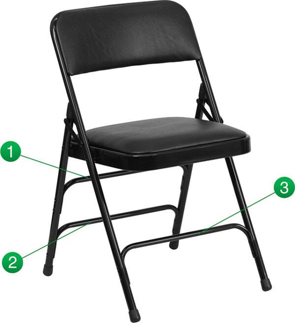 Wholesale HERCULES Series Curved Triple Braced & Double Hinged Black Vinyl Metal Folding Chair
