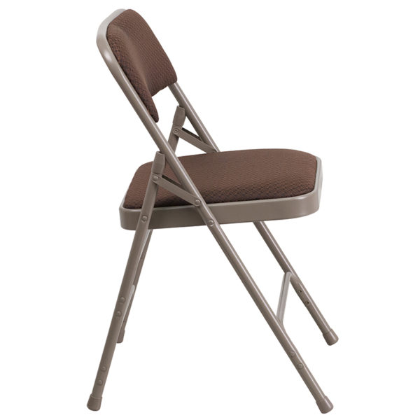 Padded Metal Folding Chair Brown Fabric Metal Chair