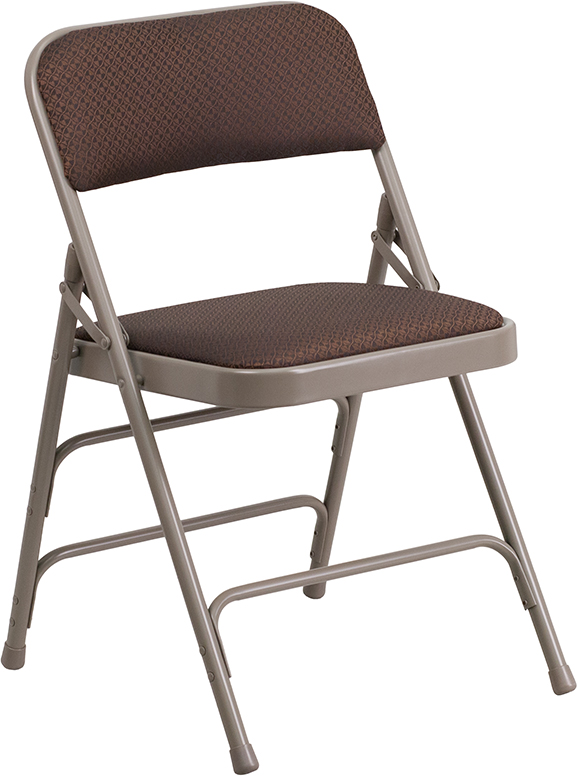 Wholesale HERCULES Series Curved Triple Braced & Double Hinged Brown Patterned Fabric Metal Folding Chair