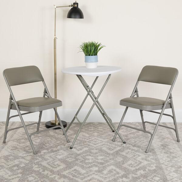 Lowest Price HERCULES Series Curved Triple Braced & Double Hinged Gray Vinyl Metal Folding Chair