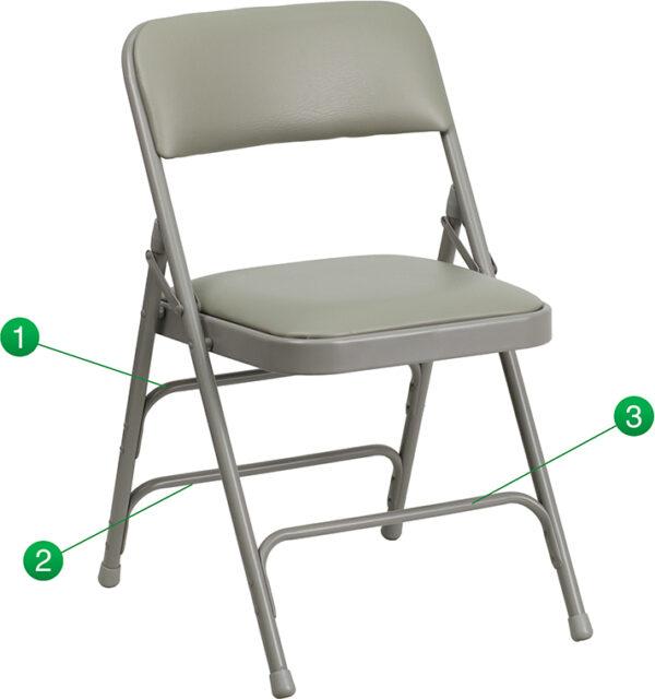 Wholesale HERCULES Series Curved Triple Braced & Double Hinged Gray Vinyl Metal Folding Chair