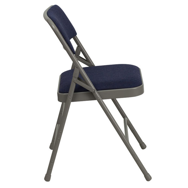 Padded Metal Folding Chair Navy Fabric Folding Chair