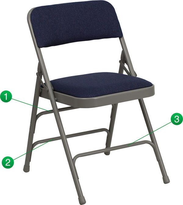 Wholesale HERCULES Series Curved Triple Braced & Double Hinged Navy Fabric Metal Folding Chair