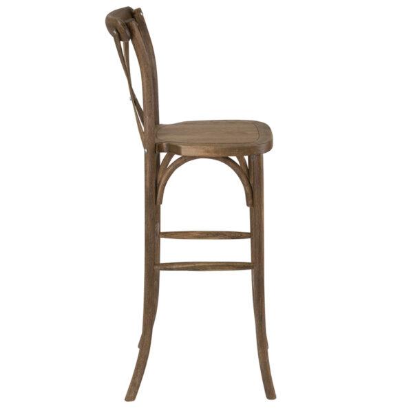 Lowest Price HERCULES Series Dark Antique Wood Cross Back Barstool