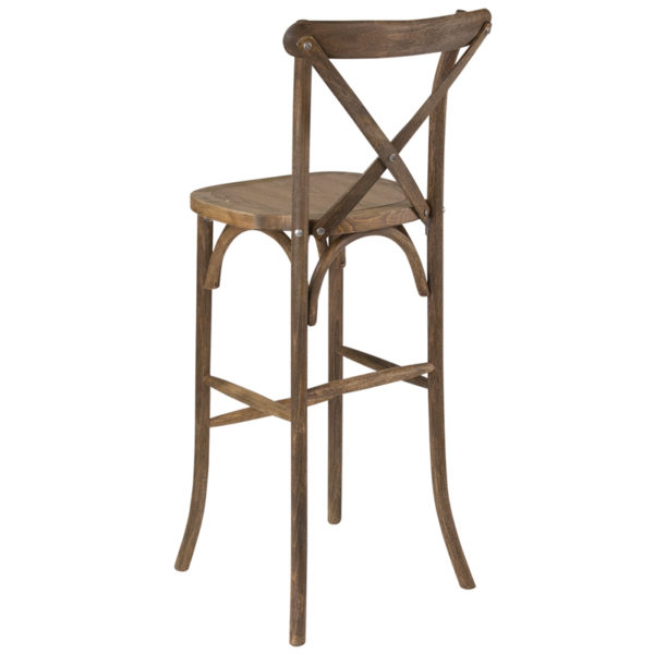 Stackable Bistro Style Stool Antique Cross Back Barstool