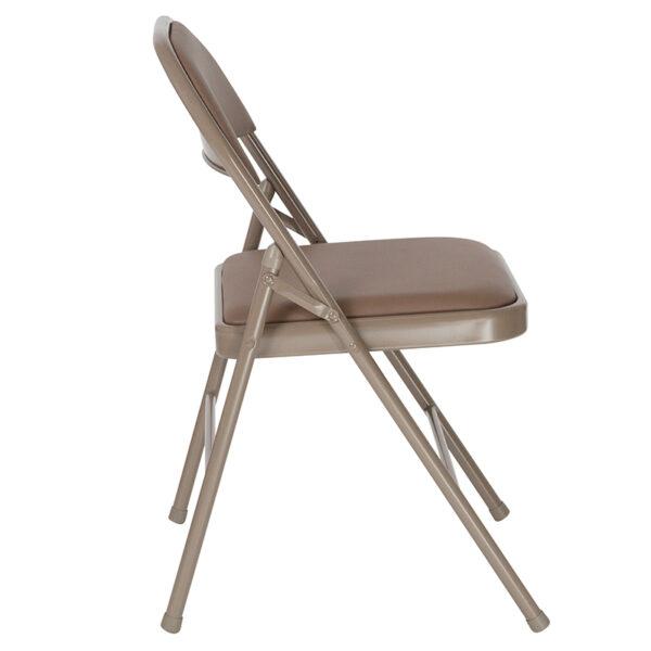 Padded Metal Folding Chair Beige Vinyl Folding Chair