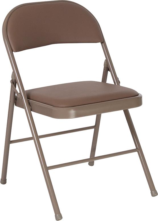 Wholesale HERCULES Series Double Braced Beige Vinyl Folding Chair
