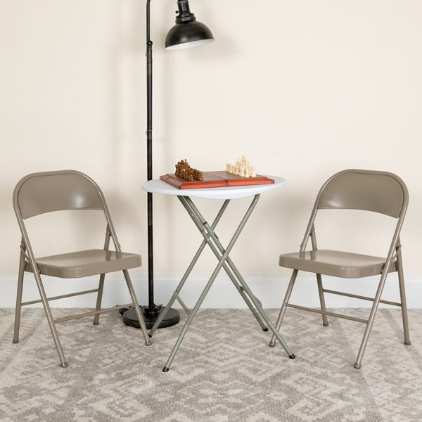 Lowest Price HERCULES Series Double Braced Gray Metal Folding Chair