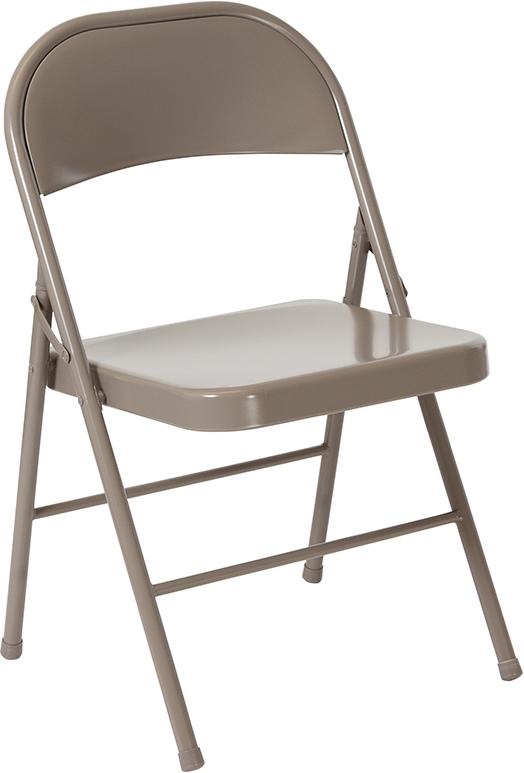 Wholesale HERCULES Series Double Braced Gray Metal Folding Chair