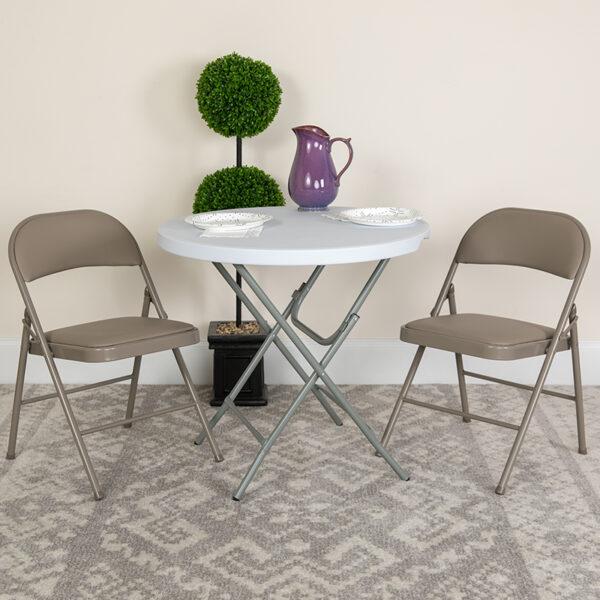 Lowest Price HERCULES Series Double Braced Gray Vinyl Folding Chair