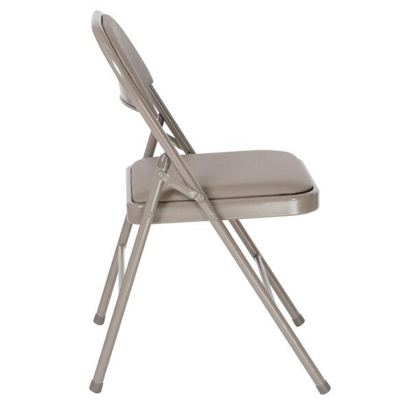 Padded Metal Folding Chair Gray Vinyl Folding Chair