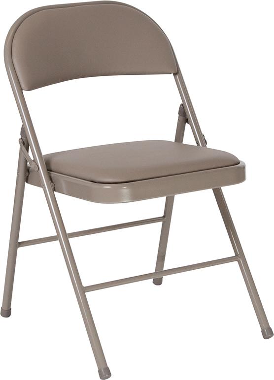 Wholesale HERCULES Series Double Braced Gray Vinyl Folding Chair