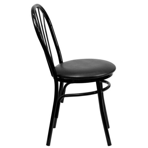Lowest Price HERCULES Series Fan Back Metal Chair - Black Vinyl Seat