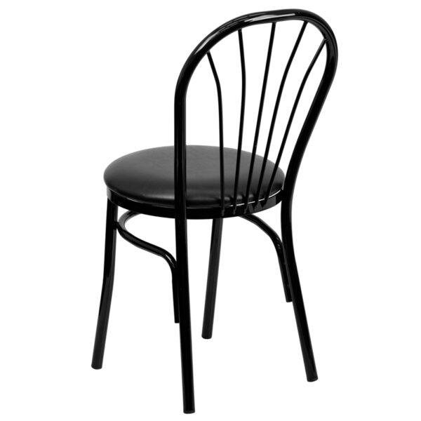 Metal Dining Chair Black Fan Chair-Black Seat