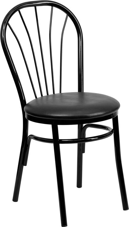 Wholesale HERCULES Series Fan Back Metal Chair - Black Vinyl Seat