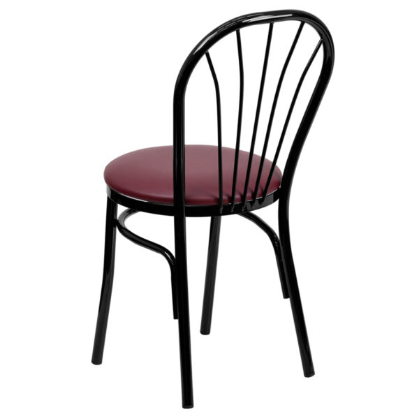 Metal Dining Chair Black Fan Chair-Burg Seat
