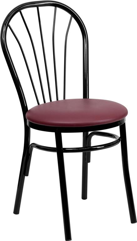 Wholesale HERCULES Series Fan Back Metal Chair - Burgundy Vinyl Seat