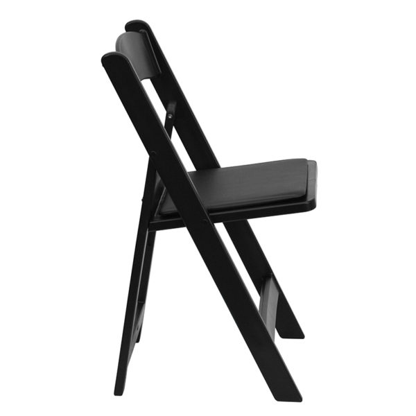 Black resin folding chairs with padded seats Black Resin Folding Chair