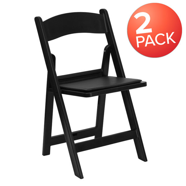 Wholesale HERCULES Series Folding Chairs with Padded Seats | Set of 2 Black Resin Folding Chair with Vinyl Padded Seat