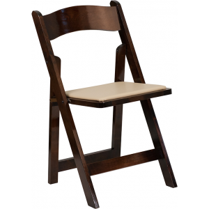 Wholesale HERCULES Series Fruitwood Wood Folding Chair with Vinyl Padded Seat