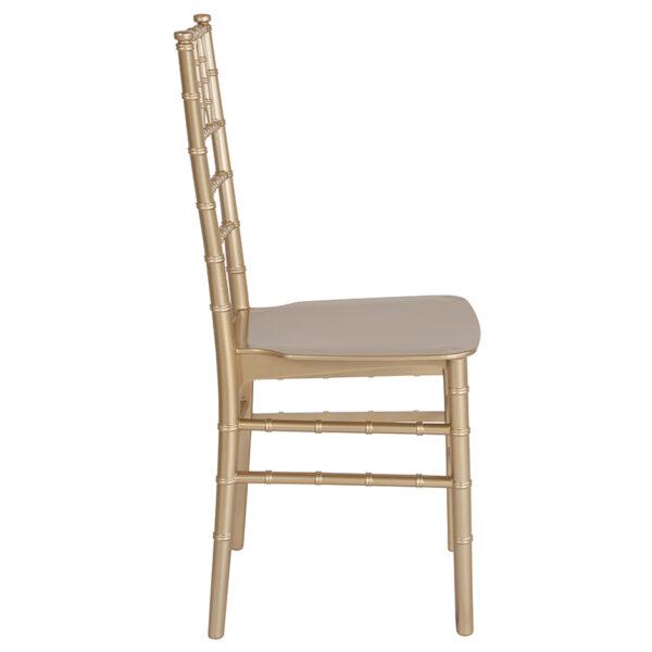 Lowest Price HERCULES Series Gold Resin Stacking Chiavari Chair