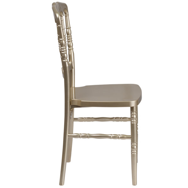 Lowest Price HERCULES Series Gold Resin Stacking Napoleon Chair