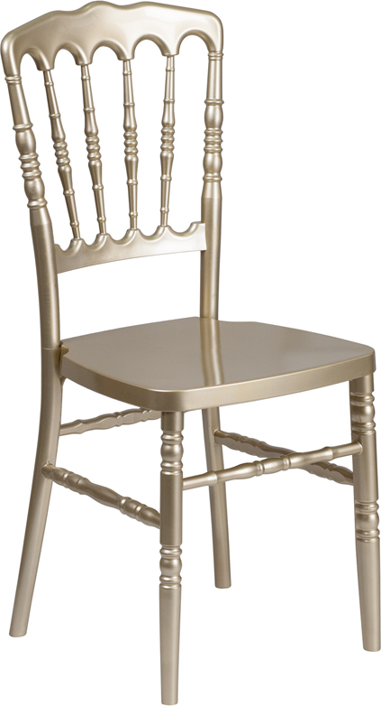 Wholesale HERCULES Series Gold Resin Stacking Napoleon Chair